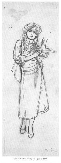 """littlewitchcurry: """" Artbook Scans Week 2 - Side 2 - Drawings of Mucha I love Mucha's sketches just as much as his paintings if not more. It's so hard to find books which include his sketches so when I..."""