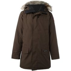 Canada Goose zipped parka coat ($1,145) ❤ liked on Polyvore featuring men's fashion, men's clothing, men's outerwear, men's coats, brown, mens brown coat, mens parka coats and canada goose mens coats