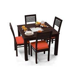 Beautiful Brighton Square   Zella 4 Seater Dining Table Set (Mahogany Finish, Burnt  Orange)