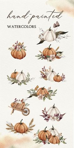 Autumn Watercolor Clipart, Watercolor Autumn Bouquets, Fall Leaves Clipart, Thanksgiving Clipart