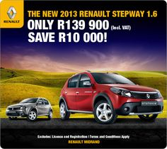 Save R10 000 on the New Renault Sandero Stepway 1.6. Retail: R139 900