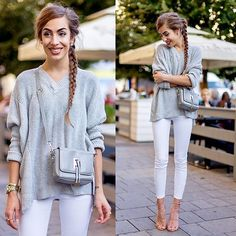 Get this look: http://lb.nu/look/8428469  More looks by Markéta Bártová: http://lb.nu/marketabartova  Items in this look:  Wholesale7 Gray Mini Crossbody, Gearbest Gray V Neck Sweater, Mango White Skinny Jeans, Mango Pink Studded Sandals   #chic #romantic #street