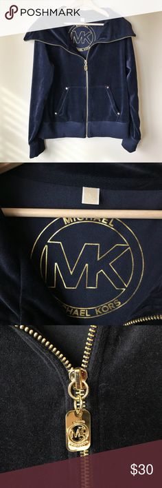Michael Kors Velour Track Jacket Michael Kors velour track jacket. Great used condition. Cute with jeans or sweats. Gold hardware. MICHAEL Michael Kors Jackets & Coats