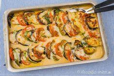 Mozzarellagratäng med aubergine, zucchini och tomat
