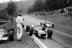 Graham Hill and Jo Siffert, 1968 Formula One Grand Prix French GP