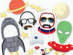 Space Photo Booth Props, Rocket Photobooth Props, Spaceship Props, Space Birthday, Out of this World, Astronaut Photo Props, Moon, Alien by PaperBuiltShop on Etsy https://www.etsy.com/listing/295230299/space-photo-booth-props-rocket