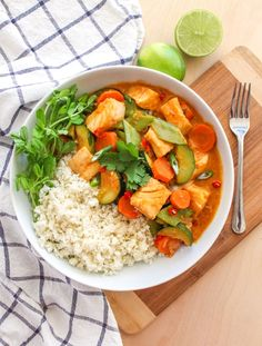 Thai Coconut Cod Curry on Cauliflower Rice - A delicious and healthy weeknight dinner that's ready in 30 minutes, and also happens to be dairy-free, gluten-free and paleo!