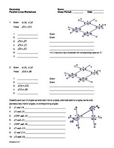 Parallel Lines with Transversals Extra Practice Worksheet