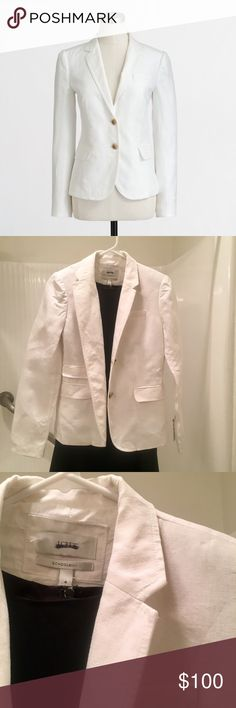 J. Crew Classic Schoolboy Blazer I wore it once to an interview! It's in great condition! I love it on! A little too big but I would say true to size!!! It's cotton/ linen material. Great for office attire, dinner, anything! J. Crew Jackets & Coats Blazers