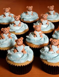 they need bows of course! Teddy Bear Cupcakes, Teddy Bear Party, Teddy Bear Baby Shower, Baby Shower Cupcakes, Shower Cakes, Baby Shower Parties, Beautiful Cupcakes, Yummy Cupcakes, Mini Tortillas