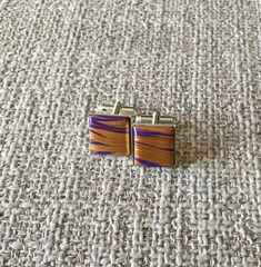 Excited to share the latest addition to my #etsy shop: Unique Purple and Gold Cufflinks http://etsy.me/2DfmXaA #jewelry #gold #purple #cufflinks #women #his #jewellery #cuff #handmade