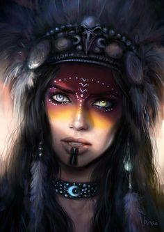 f Sorcerer Cleric multi-class portrait Ren Deil Fantasy Women, Fantasy Art, Character Portraits, Character Art, Tatoo Art, War Paint, Native American Art, Face Art, Character Inspiration