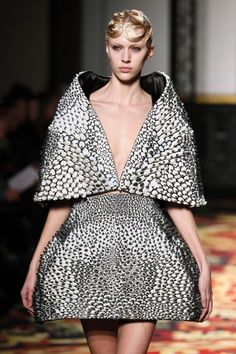 Designer Iris Van Herpen sent two 3D-printed dresses down the runway this Paris Fashion Week.