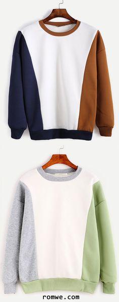 Color Block Contrast Trim Drop Shoulder Sweatshirt