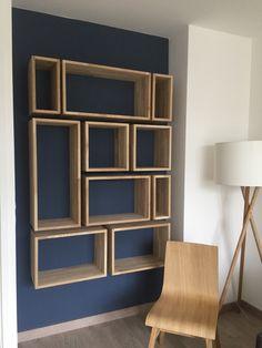 Creative Bookshelves, Bookshelf Design, Wall Shelves Design, Homemade Bookshelves, Unique Wall Shelves, Shop Shelving, Living Room Partition Design, Room Partition Designs, Home Room Design