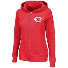 Cincinnati Reds Majestic Women's Dynamic Play Full-Zip Hoodie - Red - $40.84