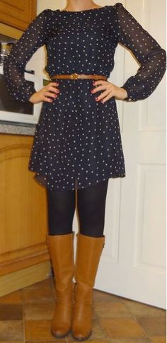outfit post: blue polka-dot dress, black tights, brown riding boots