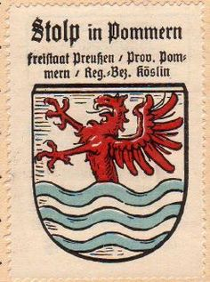 Słupsk - Herb - coat of arms - crest of Słupsk Ferrari Logo, Coat Of Arms, Herb, Poland, Germany, History, Logos, Paintings, Weimar