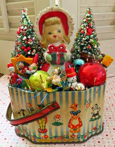 Vintage CUTE Tin with Vintage Christmas Delights Decoration OOAK by dimestorechic on Etsy https://www.etsy.com/listing/208892141/vintage-cute-tin-with-vintage-christmas