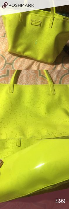 kate spade Neon Yellow Tote. Great Condition. Gorgeous kate spade neon yellow tote. Has some markings on the bottom where it was up against one of my MK bags, not sure if it will come off. Inside is really clean. Is PVC coated so I'm sure the markings can come off. kate spade Bags Totes