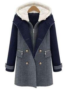 Abrigo con capucha cremallera doble botonadura bolsillos -color combinado