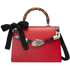 Gucci Lilith Leather Top Handle Bag ($4,200) ❤ liked on Polyvore featuring bags, handbags, red, red purse, genuine leather purse, red leather purse, bow handbag and shoulder strap purses