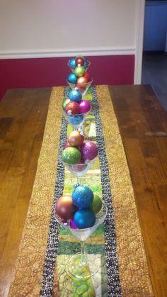 ornaments in martini glasses-- easy christmas decoration