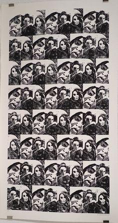 """""""Selfie story 03"""" de Gaby Matryoshka Linogravure sur papier  D'après le court métrage Snap"""