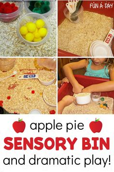 A sensory activity that's great for an apple theme or as a fun fall activity. So much learning takes place with this simple preschool activity! All 5 senses are used, and early math and science concepts of measuring, volume, and sorting are explored. It's EASY and FUN!