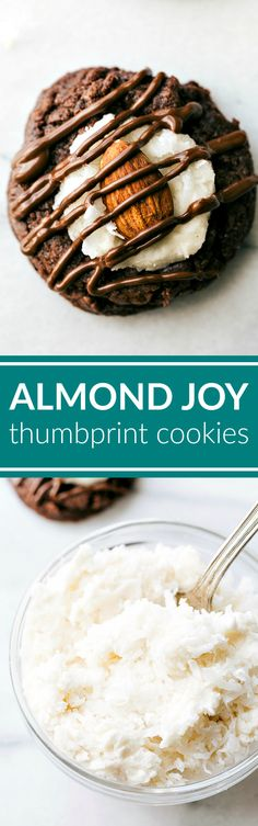 ALMOND JOY THUMBPRINT COOKIES: An easy to make almond joy thumbprint cookie with a chocolate cookie base, fluffy and light coconut frosting, almond, and a chocolate drizzle! via chelseasmessyapron.com