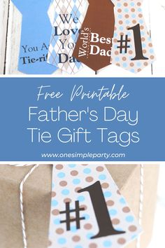 Let Dad know that he's Number 1 this Father's Day with these Free Printable Tie Gift Tags. Perfect to top any Father's Day gift. - - - CLICK HERE to download your FREE PRINTABLE Father's Day Gift Tags - - - #fathersdaytagsprintable #fathersdaytags #fathersdaygifttags Creative Gift Packaging, Creative Gifts, Party Printables, Free Printables, Cool Fathers Day Gifts, Printable Tags, Good Good Father, Work From Home Moms, Infant Activities