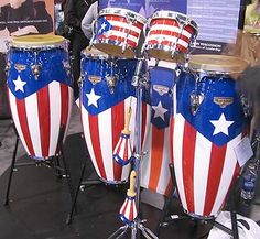 Salsa musical instruments embellished with the flag of Puerto Rico Puerto Rican Slang, Puerto Rican Music, Puerto Rican Christmas, Arroz Con Gandules, Puerto Rico Pictures, Old San Juan, Puerto Rican Culture, Puerto Rican Recipes, Cool Gifts For Kids