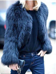 Fun fur. Blue jacket.