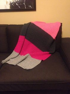 Super soft pink and gray color blocked crochet blanket