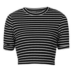 Topshop Stripe Crop Top (Regular & Petite) Black 12 (14 US) (73 AED) ❤ liked on Polyvore featuring tops, crop tops, shirts, striped shirt, crop top, topshop, stripe shirt and stripe crop top