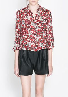 Multicolor Floral Pockets Long Sleeve Wrap Polyester Blouse