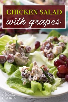 This chicken salad with grapes is the perfect summer salad. Bring it along to a potluck, BBQ, or holiday gathering and serve it up on a crisp lettuce leaf or sandwich bun! uses 3 cans if needed Chicken Salad With Grapes, Grape Salad, Chicken Salad Recipes, Recipe Chicken, Summertime Salads, Summer Salads, Grape Recipes, Pizza, Cooking Recipes