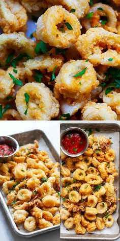 deep-fried-calamari-recipe-italian-style-serve-with-tomato-sauce-as-dipping-sau/ - The world's most private search engine Calamari Recipes, Shellfish Recipes, Seafood Recipes, Squid Recipes, Popular Appetizers, Seafood Appetizers, Appetizer Recipes, Fish Dishes, Seafood Dishes