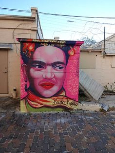 Stunning Frida Kahlo portrait painted on the street of St. Petersburg, FL. Photo sent in to us by Yo Miami. Artist Unknown. Via MoreThanSunshine.com