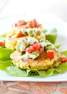 Sweet Corn Cakes with Tomato-Avocado Relish...pinning for the tomato-avocado relish recipe!