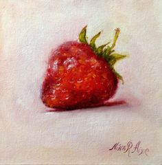 Strawberry Original Oil painting by Nina R.Aide by RomaGalleries