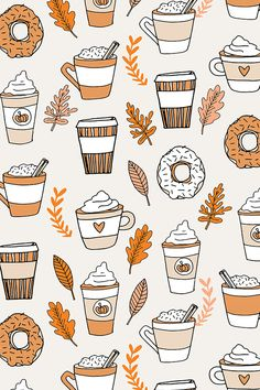 Colorful fabrics digitally printed by Spoonflower - pumpkin spice latte fabric coffee and donuts fall autumn traditions off-white - - Add a pop of pattern with unique fabric, wallpaper & gift wrap. Cute Backgrounds, Cute Wallpapers, Wallpaper Backgrounds, Fall Backgrounds Iphone, Wallpaper Ideas, Fall Wallpapers For Iphone, Desktop, Fall Images, Fall Pictures