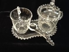 Imperial Candlewick Creamer, Sugar Bowl, Tray And Spoon
