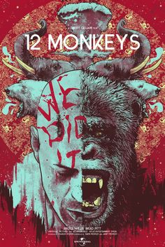 Twelve Monkeys by Nikita Kaun - Home of the Alternative Movie Poster -AMP- Brad Pitt, Twelve Monkeys, Movies And Series, Keys Art, Bruce Willis, Alternative Movie Posters, Cinema Posters, Movie Poster Art, Cool Posters