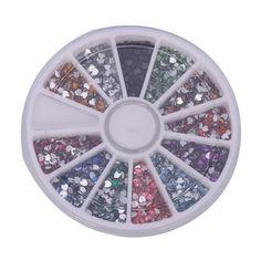MBox 3000pcs 2mm 12 Color Nail Art Nailart Heart Shape Rhinestones Glitter Tips Decoration  Wheel *** See this great product.