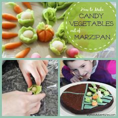 This is so cute! - Delight your kids with a miniature vegetable garden out of marzipan, a kind of candy, which you can use to decorate a fun and delicious gard...