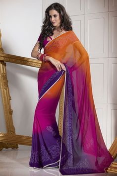 Amazing semi georgette saree in multicolor #saree #sari #blouse #indian #outfit #shaadi #bridal #fashion #style #desi #designer #wedding #gorgeous #beautiful