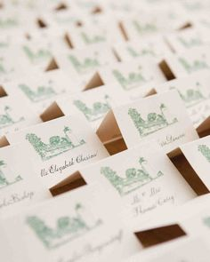 Each escort card featured an illustration of the wedding location in green, and their names in black calligraphy Beach Wedding Favors, Chic Wedding, Elegant Wedding, Wedding Details, Wedding Souvenir, Nautical Wedding, Wedding Decor, Destination Wedding, Wedding Rings
