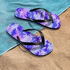 Pink Purple Camouflage Camo Military Print Unisex Flip-Flops Sandals- Made in USA Mens Flip Flops, Flip Flop Shoes, Purple Camo, Pink Purple, Designer Flip Flops, Army Camo, Print Patterns, Pattern Print, Must Have Items