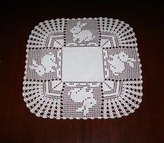 a beautiful crochet patchwork blanket >>> bunny <<< The white crochet fabric (squa Crochet Fabric, Crochet Doilies, Crochet Lace, Crochet Placemats, Patchwork Blanket, Easter Crochet, Animal Wallpaper, Beautiful Crochet, Diy And Crafts